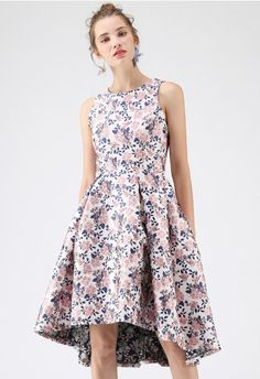 Rose Florist Embossed Waterfall Dress