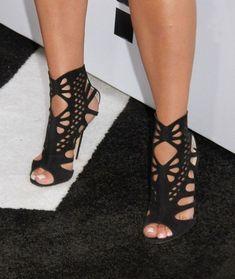 Suede Stiletto Heel Peep-toe Cut Out Zipper High Heels Sandals #stilettoheelsboots