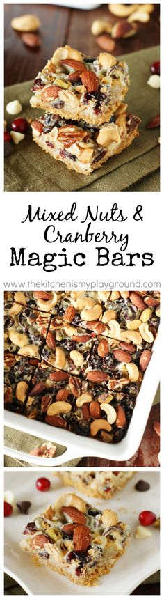 Mixed Nuts & Cranberry Magic Bars ~ perfect for celebrating the holiday season ... or a random Tuesday!  Enjoy for snacks, parties, cookie trays, and holiday gift-giving, too.  #PlantersHoliday #Ad @MrPeanut www.thekitchenismyplayground.com