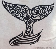 Whale Tail Tribal Tattoo Origins Cotton Tote by DesignsofAcadia