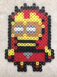 Minion Super Hero Iron Man Perler Bead Art by EightBitEvolution change to cross stitch