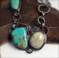 Turquoise Fossilized Sand Dollar and Amber Cabochon Designer Multi Stone Pendant Necklace