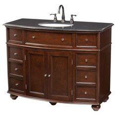 Home Decorators Collection Hampton Bay 45 in. Vanity in Sequoia with Granite Vanity Top in Black-5459200960 - The Home Depot