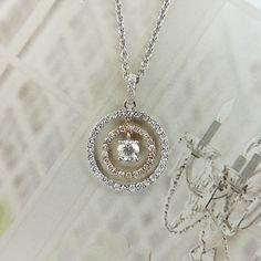 18K Two Tone 1/2 cttw Diamond Circle Pendant & Chain