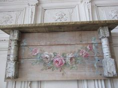 OMG Original Christie Repasy Painting Swag White Pink Roses on Old Wall Shelf Shabby Chic Art, Shabby Chic Painting, Romantic Shabby Chic, Shabby Chic Farmhouse, Shabby Vintage, Cottage Chic, Floral Painted Furniture, Paint Furniture, Furniture Online