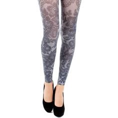 Lace Print Footless Tights