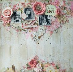 Scraps of Elegance Scrapbook kits: Annie Carignan created this sweet pink and white mixed media layout with our January Adore kit. Subscribe to our kits and receive a new box of mixed media scrapbooking fun delivered to you each month! www.scrapsofdarkness.com