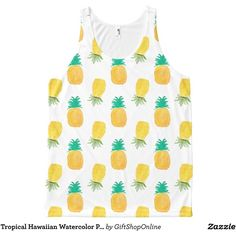 Tropical Hawaiian Watercolor Pineapple Patterned All-Over Print Tank... ($37) ❤ liked on Polyvore featuring tops, pineapple tank, hawaiian print top, white singlet, hawaiian tank tops and white tank top