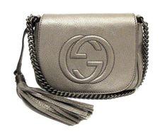 GUCCI METALLIC TEXTURED LEATHER CHAIN STRAP SMALL SOHO CROSSBODY BAG | eBay