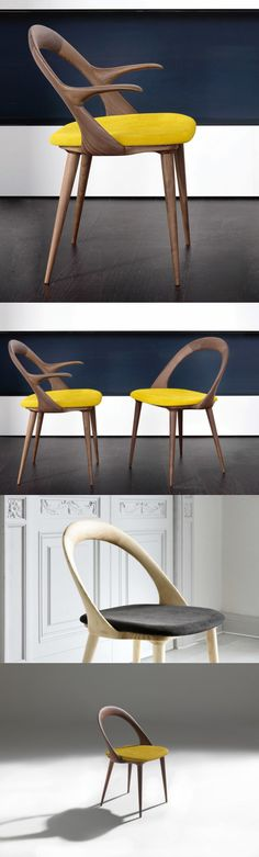 bigi ester chair chair and chair with arms in canaletta walnut or ash and seat covered in the fabrics of the collection