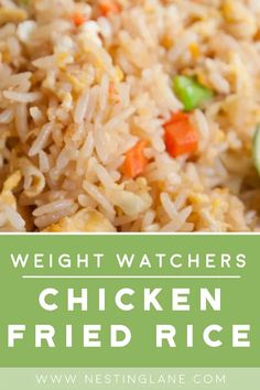 Weight Watchers Chicken Fried Rice Recipe - An easy Chinese Side Dish or Meal. Low calorie with 179 calories and low fat. Ready in 28 minutes. Weight Watchers Chicken, Weight Watchers Meals, Low Fat Dinner Recipes, Low Fat Chicken Recipes, Keto Chicken, Rotisserie Chicken, Healthy Chicken, Grilled Chicken, Baked Chicken