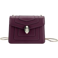 BVLGARI Serpenti Forever leather shoulder bag (6,615 AED) ❤ liked on Polyvore featuring bags, handbags, shoulder bags, plum amethyst, purple handbags, leather handbags, genuine leather shoulder bag, leather purses and leather shoulder bag