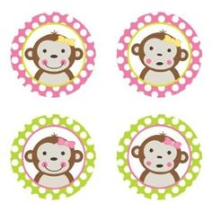 Mod Monkey Girl {Pink & Lime Green} Edible Cupcake Toppers Decoration