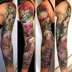 Cool and Pretty Sleeve Tattoo Designs for Women - tattoos sleeve Full Sleeve Tattoo Design, Full Sleeve Tattoos, Sleeve Tattoos For Women, Tattoos For Guys, Tattoo Sleeves, Fairy Sleeve Tattoo, Floral Sleeve Tattoos, Nature Tattoo Sleeve Women, Butterfly Sleeve Tattoo