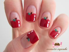 16 Fruit Nail Art Designs for Summer - Pretty Nails Desings 2018 Love Nails, Red Nails, Pretty Nails, Cherry Nails, Fall Nails, White Nails, Fruit Nail Designs, Nail Art Designs, Nails Design