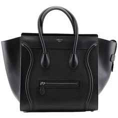 Pre-owned Celine Black Drummed Leather Mini Luggage Tote (37 380 SEK) ❤ liked on Polyvore featuring bags, handbags, tote bags, purses, bolsas, accessories, totes, handbags and purses, mini tote bag and tote handbags