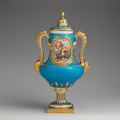 Antique porcelain and gilt vase with cover by   Sèvres Manufactory, France 1782