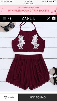 Lace Floral Halter Crop Top And Shorts – Wine Red S – Fashion Outfits Crop Top And Shorts, Crop Top Outfits, Halter Crop Top, Crop Tops, Summer Outfits, Casual Outfits, Cute Outfits, Floral Outfits, Red Shorts