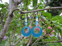 Blue Sea Glass Earrings Blue Hoop Earrings by SmithNJewels on Etsy