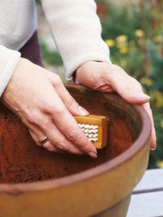 All pots, large and small, need some preparation. Plants will live longer and look better if their pots are well prepared. Also consider the weight of your containers to avoid back-breaking lifting after planting.
