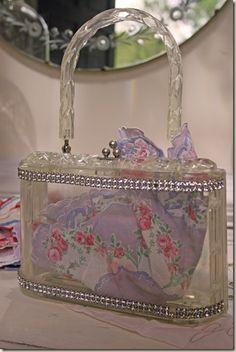 Vintage lucite purse with vintage hankie~pretty!