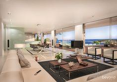 Innenvisualisierung einer Neubau Villa am Meer von Krotien