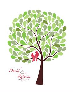 Wedding Guest Book Alternative Signature Tree with by fancyprints, $45.00