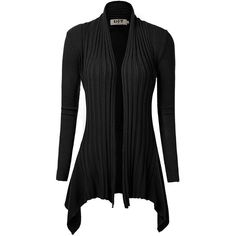 DJT Women's Open Front Hanky Hem Long Sleeve Knit Cardigan Top Shawl... ($15) ❤ liked on Polyvore featuring outerwear, cape shawl, open front poncho, knit shrug, knit poncho and poncho cape coat