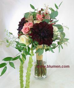 Bride's bouquet of burgundy dahlias, white garden roses, blush spray roses, burgundy hypericum, blush astilbe, green amaranthus, seeded eucalyptus and ruscus.