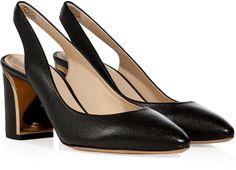 Chloé Leather Blocky Heel Slingbacks