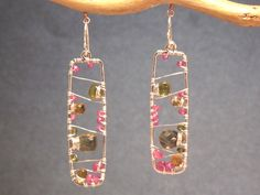 Bohemian 27 Hammered rectangles with pink ruby, citrine, and vessonite