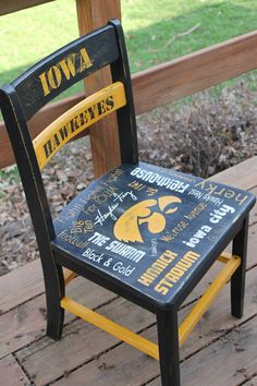 Hand painted Iowa Hawkeye Chair painted by ME :) Hawkeye, Dining Chairs, Hand Painted, Painting, Furniture, Home Decor, Decoration Home, Room Decor, Painting Art