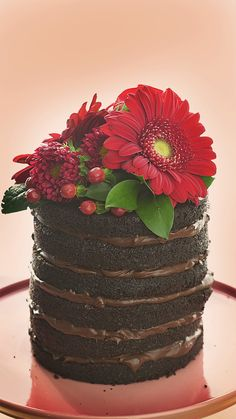 One-Bowl Black Velvet Naked Cake- Now you can keep the mess to a minimum to effortlessly bake your cake and eat it too.