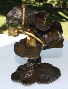 """French art Nouveau Gilt Patinated Bronze Sculpture """"Loie Fuller"""" Louchet"""