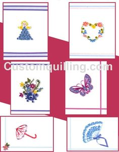 Cards for Her Quilling Kit Custom Quilling Supplies - Kit includes:  Quilling Paper, 6 4 x 5 folded note cards with envelopes complete instructions to finish the cards. Skill Level: Beginner