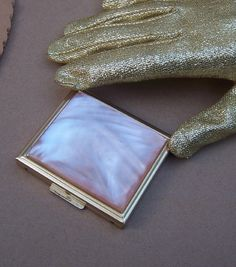 Vintage Compact Mother of peal effect, confetti Lucite 1960's.