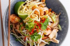 Try this tasty Prawn pad Thai salad, with all the classic flavours of traditional Thai cuisine. Find this Thai recipe, & many more, at Tesco Real Food. Thai Recipes, Healthy Recipes, Onion Sprouts, Shrimp And Lobster, Thai Salads, Tesco Real Food, National Dish, Thai Dishes, Kitchens