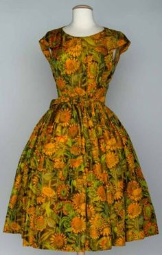 GALANOS SILK PRINT DRESS, c. 1955