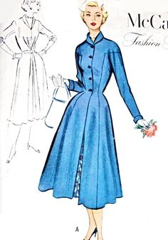 1950s  Dress and Redingote Coat Pattern Figure Flattering Fit and Flare Nip In Waist Coat  Lovely Center Front Pleat Dress McCalls Fashion Firsts 9292 Vintage Sewing Pattern Bust 32