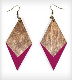 diamond-dipped wood earrings.