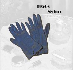 1950s Vintage Navy Nylon Gloves, Short Glove Set, Mid Century Retro Accessories, 50s High Tea Accessory 50s Vintage, Vintage Silver, Back Of Hand, 50s Rockabilly, Plain Dress, Dress Gloves, Tea Accessories, High Tea, Fabric Scraps