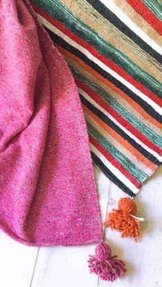 Image of Moroccan POM POM Cotton Blanket - Colored Stripes