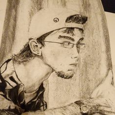 In the moments before our drawing teacher had us draw using a grid system he had us draw a self portrait however the hell we wanted. This was my attempt before using a grid. Needless to say I use a grid now. Circa 2008.#drawing #portrait