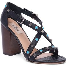 Valentino Rockstud Rolling Leather Block-Heel Sandals (17.275 ARS) ❤ liked on Polyvore featuring shoes, sandals, apparel & accessories, studded sandals, color block sandals, open toe sandals, ankle tie sandals and criss-cross sandals