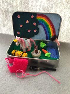 Miniature unicorn in a tin play set - Itty Bitty Maties, plush unicorn, pocket unicorn, felt toy, unicorn softie https://www.etsy.com/listing/488596627/unicorn-in-a-tin-play-set-itty-bitty