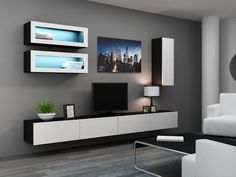 Contemporary Wall Unit kansas 4 - black high gloss fronts entertainment center | modern