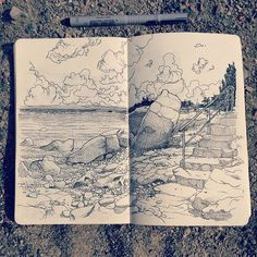Sketch Book Drawing the italian beach near San Remo. In the back one of several abandoned beach restaurants, probably victims of the crisis. Beach Sketches, Art Sketches, Moleskine Sketchbook, Sketchbooks, Portrait Illustration, Ink Illustrations, Italian Beach, Nature Sketch, Ink Pen Drawings
