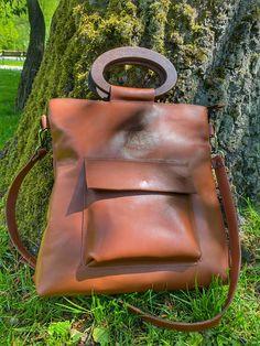 Handmade bag from DingoM Leather Hobo Bags, Leather Shoulder Bag, Leather Handbags, Leather Backpack, Crossbody Tote, Satchel, Tote Bag Organizer, Wooden Handles, Handmade Bags