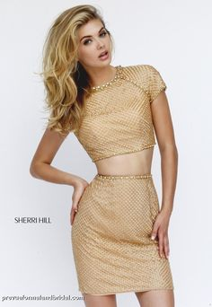 Sherri Hill short, two-piece gold dress. Short homecoming dress. Short holiday party dress. Christmas party dress. 32268