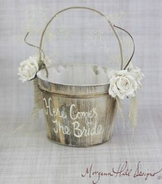 Here Comes The Bride Flower Girl Basket Rustic Cou